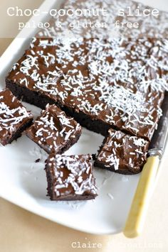 Paleo chocolate coconut slice - via Claire K Creations www.clairekcreations.com