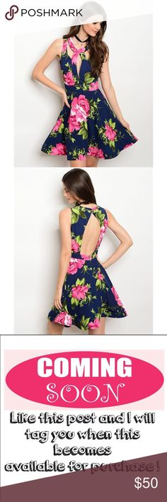 """🚨FLASH SALE🚨Caged fit & flare floral dress 🎉HP 12/11/16🎉Sleeveless fitted waist fit and flare floral mini dress in pink, navy, and green. Skirt hem has boning that keeps it flared! Fabric Content:100% POLYESTER. Brand New boutique item with tags and never been worn. ONLY CONSIDERING OFFERS THROUGH THE """"OFFER"""" BUTTON. No trades. Any questions can be addressed below. Available: 2 Small, 2 Medium, 2 Large Dresses Mini"""