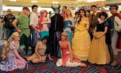 Disney Princess cosplay group at Dragon Con Disney Love, Disney Magic, Disney Pixar, Disney Characters, Disney Princess Cosplay, Disney Cosplay, Princess Costumes, Princess Dress Up, Disney Princess Dresses