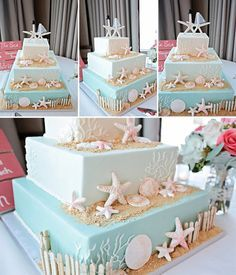 in love with this 3 tier square beach wedding cake with edible sand! ~ we ❤ this! moncheribridals.com