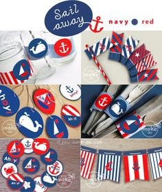 Nautical party printables full of nautical party decorations to make a nautical baby shower or a nautical birthday party—perfect for an extra special nautical first birthday party! Use the sweet nautical banner in a child's room after the celebration too! Nautical party theme includes nautical favor tag printables, straw toppers, banners, drink wrappers, cake or cupcake toppers, and cutlery (or chocolate) wraps! More printables and matching nautical invitations available! | you make do® |