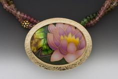 Enamel, 14k and 24k gold, sterling and fine silver, gold vermeil beads, green and pink tourmaline:  Anna Tai