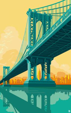 Remko Gap Heemskerk x INPRNT.God, I love these images of New York City by artist Remko Gap Heemskerk, all of which are available as fine art prints in his INPRNT Shop! This is a sponsored post by. Manhattan Bridge, Brooklyn Bridge, Manhattan Nyc, City Illustration, Digital Illustration, City Poster, New York City, New York Landmarks, Paris Vintage