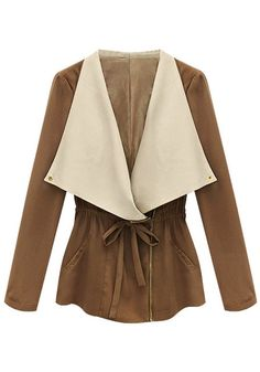 Oversized Lapel Blazer - Features Contrasted Collar