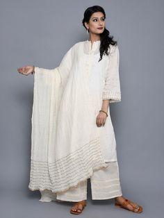 Off White Cotton Hand Embroidered Dupatta