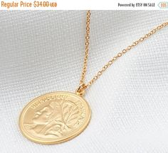 BLACK FRIDAY SALE Gold Long necklace Gold coin by HLcollection