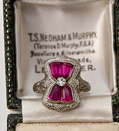 Vintage Jewelry Art Deco Ruby & Diamond White Gold Filigree Ring How would you describe this? Ruby Jewelry, Art Deco Jewelry, Fine Jewelry, Jewelry Design, Jewelry Model, Gold Jewelry, Look Vintage, Vintage Rings, Antique Jewelry