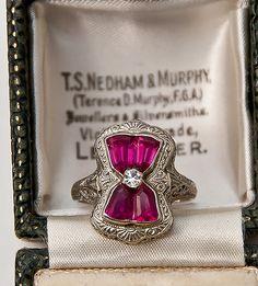 Art Deco Ruby & Diamond 14K White Gold Filigree Ring, 1920's