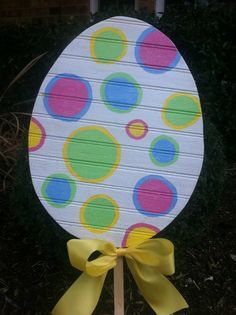 Easter Egg Yard Art Yard Stake Decoration Polka Dots. $18.50, via Etsy.