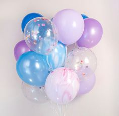 Blue & purple confetti balloons :-) set of 20, Mermaid, Frozen, birthday party - AU free shipping