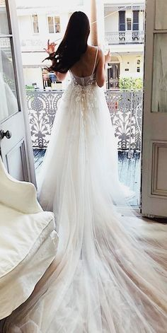 36 Absolutely Gorgeous Destination Wedding Dresses ❤ destination wedding dresses a line open back spaghetti straps with train floral pallas couture ❤ See more: http://www.weddingforward.com/destination-wedding-dresses/ #weddingforward #wedding #bride