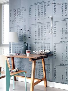 calendar pages on wall