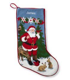 Christmas Needlepoint Stocking, Cotton: Holiday Decorations | Free Shipping at L.L.Bean