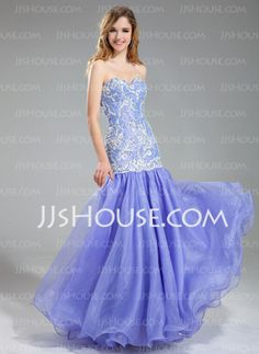 Mermaid Sweetheart Floor-Length Organza Charmeuse Prom Dresses With Lace Beading (018019004) - JJsHouse