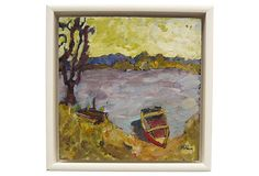 "Plein air landscape painting of a boat on a lake in France. Image, 12""L x 12""H. Oil painting on board. White wood shadow box frame. Signed ""Holden"" lower right. Martha Holden is an American artist who trained at the Cranbrook Academy of Art in Bloomfield Hills, MI, and lived and worked in France"