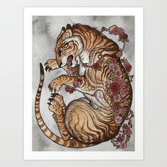 my little tiger piece available as an art print Entangled  Art Print by Caitlin Hackett - $20.00  #tiger #art #painting