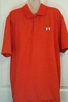 UNDER ARMOUR Heat Gear Mens Golf Polo Shirt Size Large Loose Fit Orange
