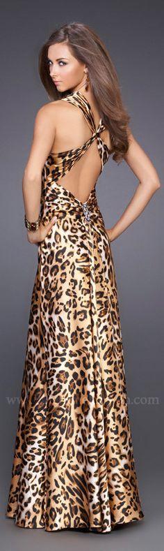 La Femme 15606 Animal Print Prom Dress