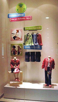 Disney store window display, children, colours