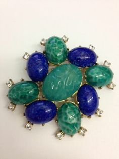 Gorgeous Jeweled Cabochon Pin Schiaparelli | eBay