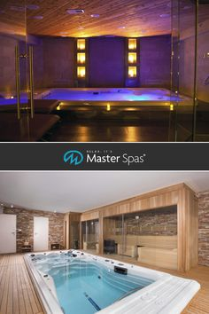 The cost of an indoor residential pool can put it out of reach. An indoor pool alternative, a swim spa by Master Spas can be put in a three-season room. Jacuzzi Room, Indoor Jacuzzi, Indoor Swimming Pools, Small Indoor Pool, Indoor Hot Tubs, Deco Spa, Hot Tub Room, Sauna Design, Hot Tub Garden