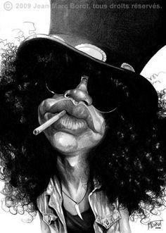 Slash por Jean-Marc Borot - Caricaturas de Famosos