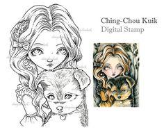 Yorkshire Terrier - sello Digital instantánea descargar / perro cachorro hada niña fantasía arte por Ching-Chou Kuik