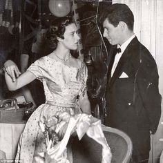 Young love: Princess Margaret and Eddie Fisher at a charity ball at the Dorchester in London in 1953