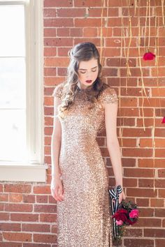 Gold Sequin Wedding Dress with a Striped Ribbon Wrapped Bouquet | Kim Lyn Photography | Sequins and Stripes for an Industrial Glam Loft Wedding