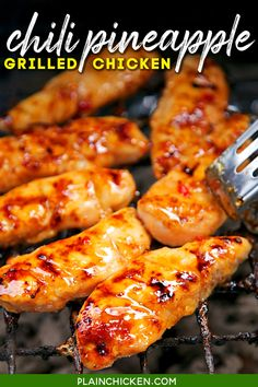 Chili Pineapple Grilled Chicken - only simple 4 ingredients! Chicken, sweet chili sauce, pineapple juice, and honey. TONS of great flavor!! We ate this chicken 2 days in a row! Leftovers are great on a salad or in a sandwich wrap. Can use any cut of chicken you prefer - breasts, tenders, thighs, or drumsticks. So simple and SO delicious! #chicken #chilisauce #grilled #honey #pineapple Grilled Chicken Recipes, Grilled Meat, Healthy Chicken, Grilled Pineapple Chicken, Lime Chicken, Grilling Recipes, Cooking Recipes, Healthy Recipes, Asian Recipes