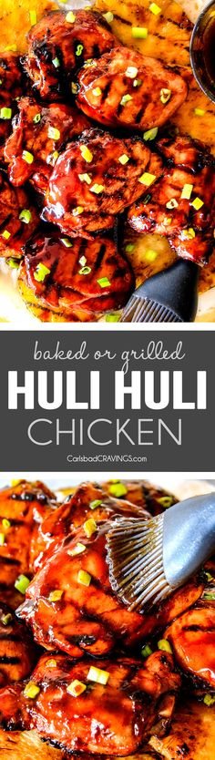 Grilled OR BAKED! Huli Huli Chicken is bursting with sweet and savory Hawaiian teriyaki flavor that is out of this world! The marinade doubles as the incredible glaze and the spice rub takes this chicken to a whole new level of amazing!!