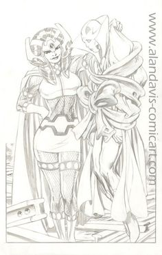 This is a sketch of Big Barda and Mister Miracle, drawn by Alan Davis.