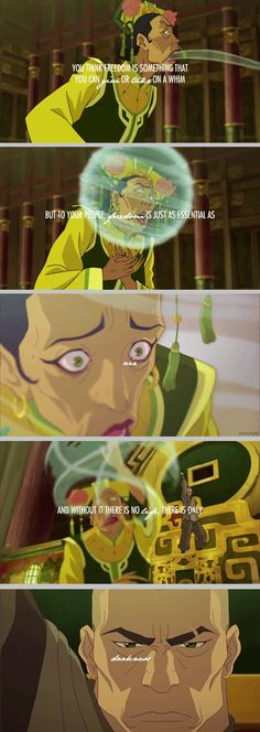 """""""I don't believe in queens."""" Zaheer. I actually like him. Legend of Korra. Earth Queen gets attacked. Avatar fandom"""