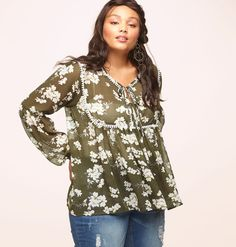 Go retro with boho style in this plus size Double Tie Floral Top available in sizes 1x-3x online at loralette.com. Avenue Store