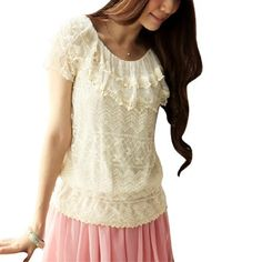 Allegra K Lady Scoop Neck Short Sleeve Semi Sheer Flouncing Top Lace Blouse Beige XS Allegra K. $11.67