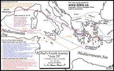 Paul's 4th & 5th missionary Journey's free map