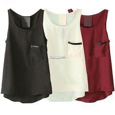 Fashion Women Asymmetric Hem Pure Color Casual Leisure Tank Tops Sleeveless Es9P