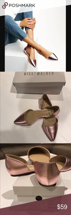 Free People Night Walker Cloud Dancer Flat 37 they're new with box. It was floor model so you'll see some wear on the fourth picture. It's size 37 Super sleek and chic metallic flat with an open design and a pretty pointed toe. Padded at the footbed for an effortless, comfy step.  Nightwalker x Free People  Sizing Tip: This style runs narrow, we recommend sizing up. Leather Import Free People Shoes Flats & Loafers