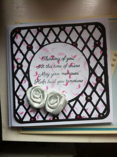 Sympathy card made using Tonic dies. Me to you paper, phill martin sentimentally yours stamp. Creative expressions silver ribbon roses.