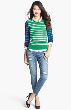 Halogen® Crewneck Sweater (Regular & Petite) | Nordstrom.....my obsession with Kelly Green is out of control.