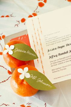 cute place cards idea for a bridal shower brunch with an orange & aqua/grn theme. Just makes me smile!