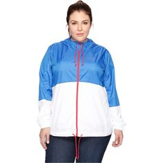 Columbia Plus Size Flash Forward Windbreaker (Stormy Blue/White/Red... ($50) ❤ liked on Polyvore featuring plus size women's fashion, plus size clothing, plus size activewear, plus size activewear jackets, womens plus size activewear, plus size sportswear, columbia activewear and columbia sportswear