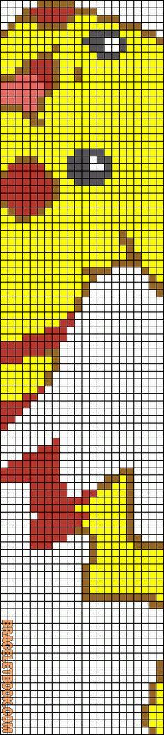 Pikachu beading loom pattern, 6 colors, 23 strings