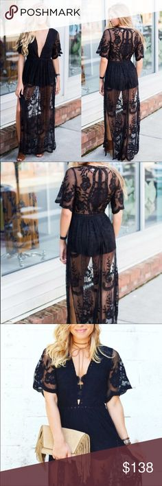 "The ultimate alter ego lace romper/dress❤ This Black embroidered lace maxi dress w/solid romper lining is a must have! Perfect for brunching on a weekend or dinner dates! you will make a fashion statement & will be turning heads. Style it w/combat boots, sandals, or heels & a bralette!  Its your choice because you are fierce and can wear anything you want! Measurements: bust 16"" waist 13.5 hips 15"" length 60""  *Black *Maxi lace dress *Built in romper *100% polyester *Floral detail *Low…"