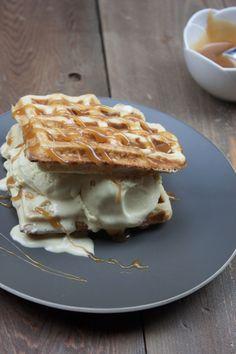 Caramel Waffle Bourbon Ice Cream Sandwiches via Whit's Amuse Bouche