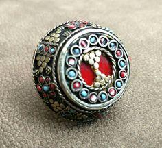 Vintage Afghan Jewelry Kuchi Tribal Ring Antique Jewelry Banjara Boho Gypsy Ring Nepali Indian Ethnic Ring Belly Dance Ring Free Shipping. by RareFindingsUS on Etsy