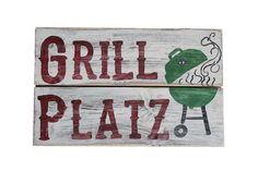 Gartendekoration - Holzschild Grillplatz - ein Designerstück von Linda-Thom-Lillis-Handcraft bei DaWanda