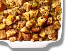 Get Basic Stuffing Recipe from Food Network.  For some photo tips & tricks, visit http://robflorexplore.com. Basic Stuffing Recipe, Stuffing Recipe Food Network, Stuffing Mix, Stuffing Recipes, Food Network Recipes, White Bread, Casserole Dishes, Green Bean Casserole, Kung Pao Chicken