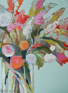 Bright floral painting: Small Blooms 3 by Erin Gregory.