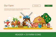 Flat Design Farm Icons Set + Header by Decorwith.me Shop on Creative Market: